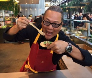 Masaharu Morimoto shows off his hamachi, soba, and black barley with corn, pickled red onion, and miso