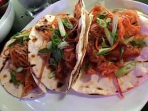 Korean Fried Chicken Tacos: kimchi, asian slaw