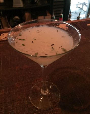 Time after Thyme: Gin, ginger, lemon juice, muddled fresh thyme
