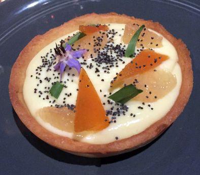 Buttermilk tart with taragon, graprefruit, poppy seed